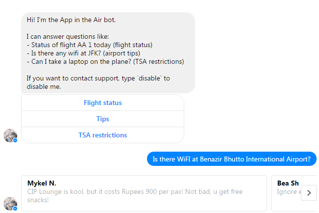 Track your Flight via Facebook Messenger Bot