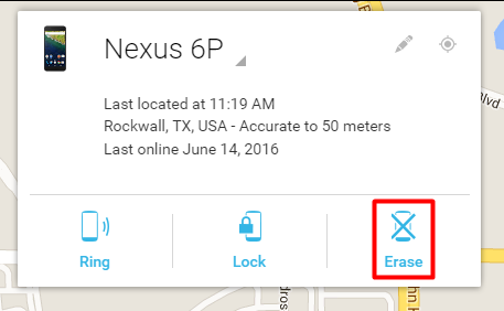 Android Device Manager Erase Option