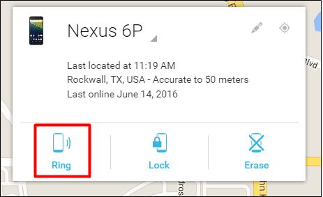 Android Device Manager Ring Option