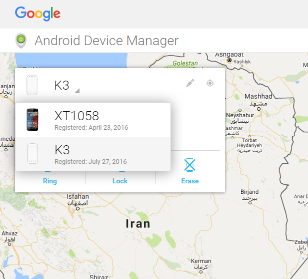 Android Device Manager choose your missing device