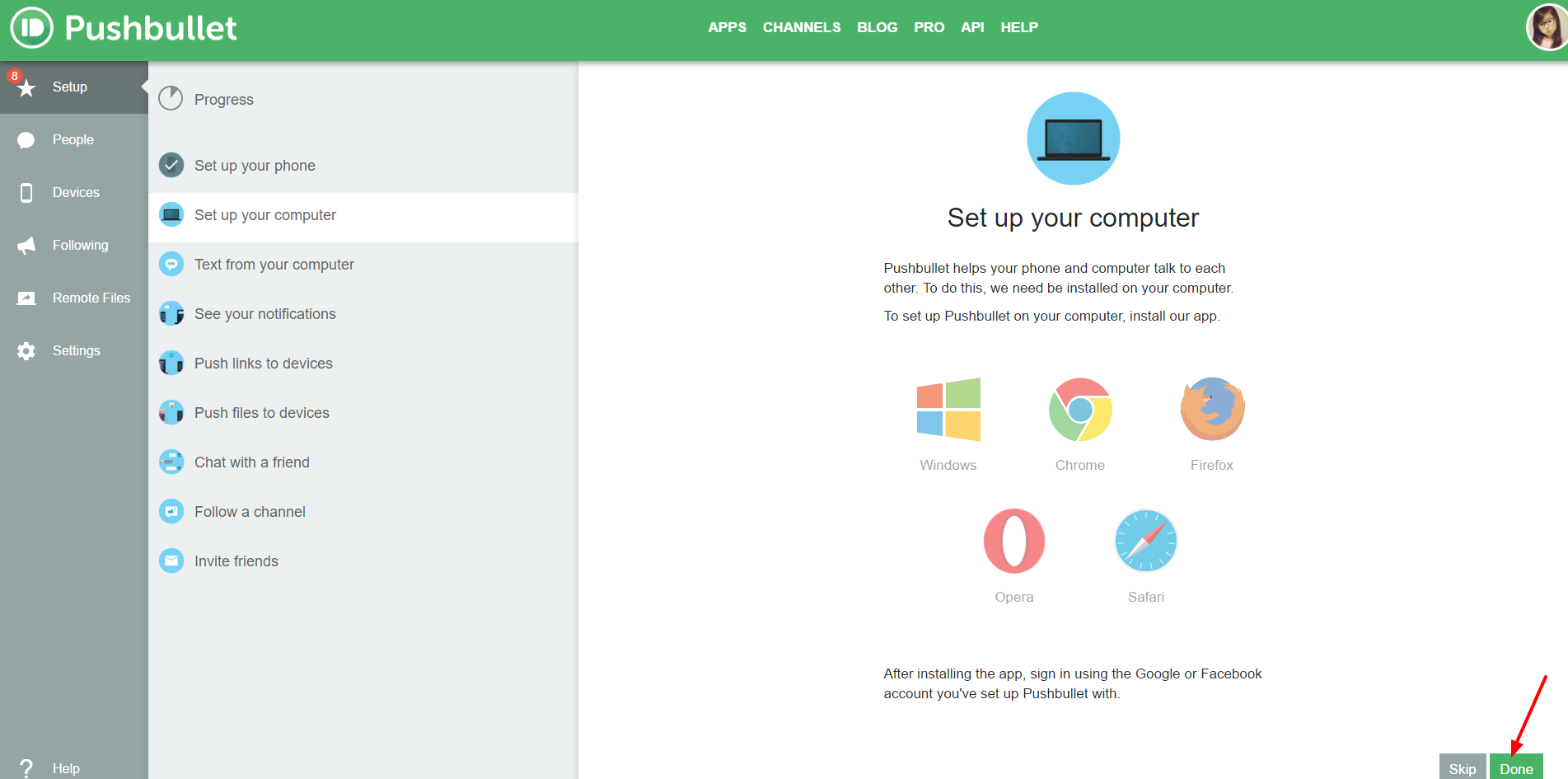 Set up your computer pushbullet