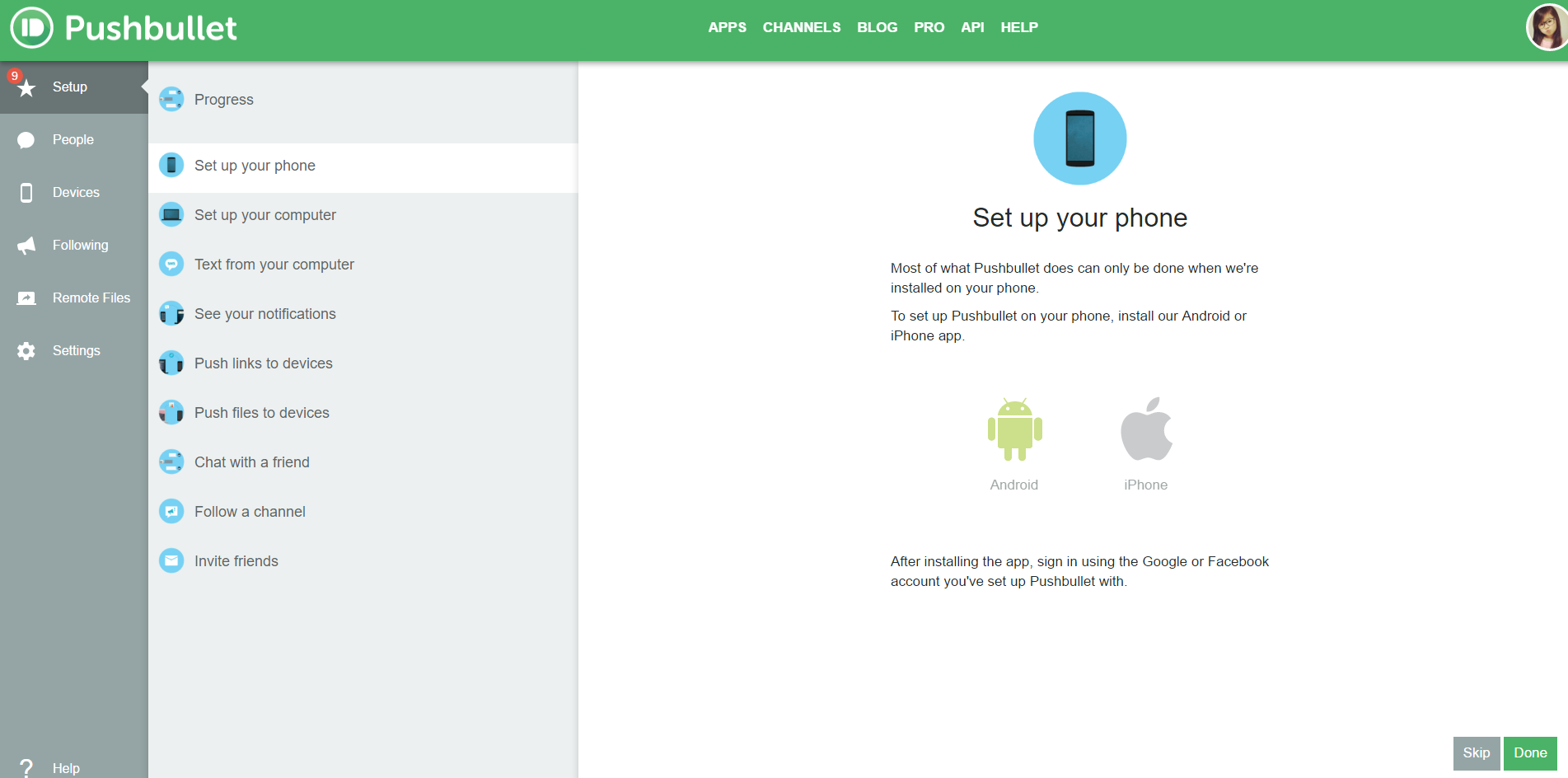 set up your phone Pushbullet