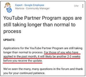 YouTube take so long to review a channel after the threshold