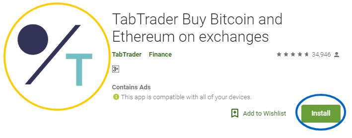 TabTrader Buy Bitcoin