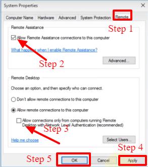 remote desktop control in windows 10
