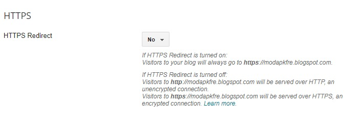 Set HTTPS Redirect in Blogger