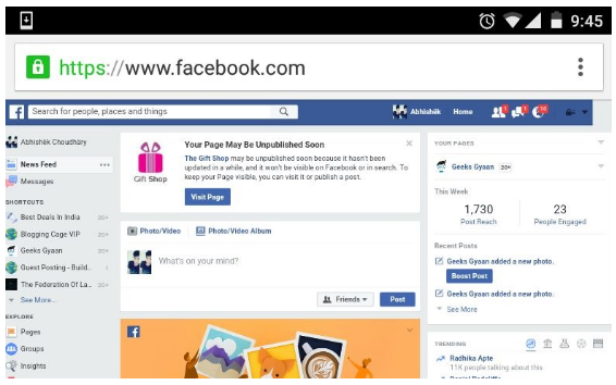 Desktop Version of Facebook on Smartphones