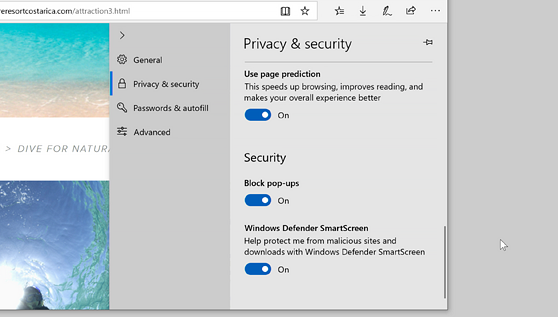 Privacy tool microsoft edge