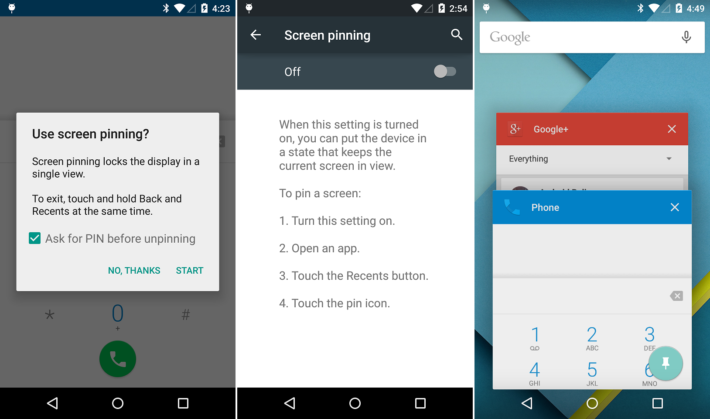 Screen Pinning app lock