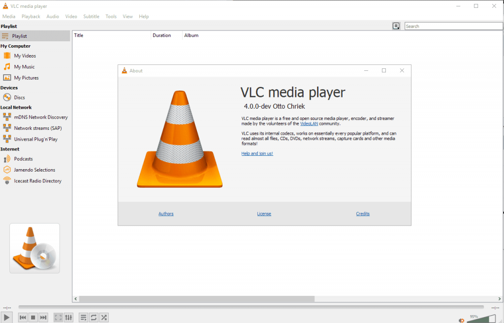 VLC player for PC Audio
